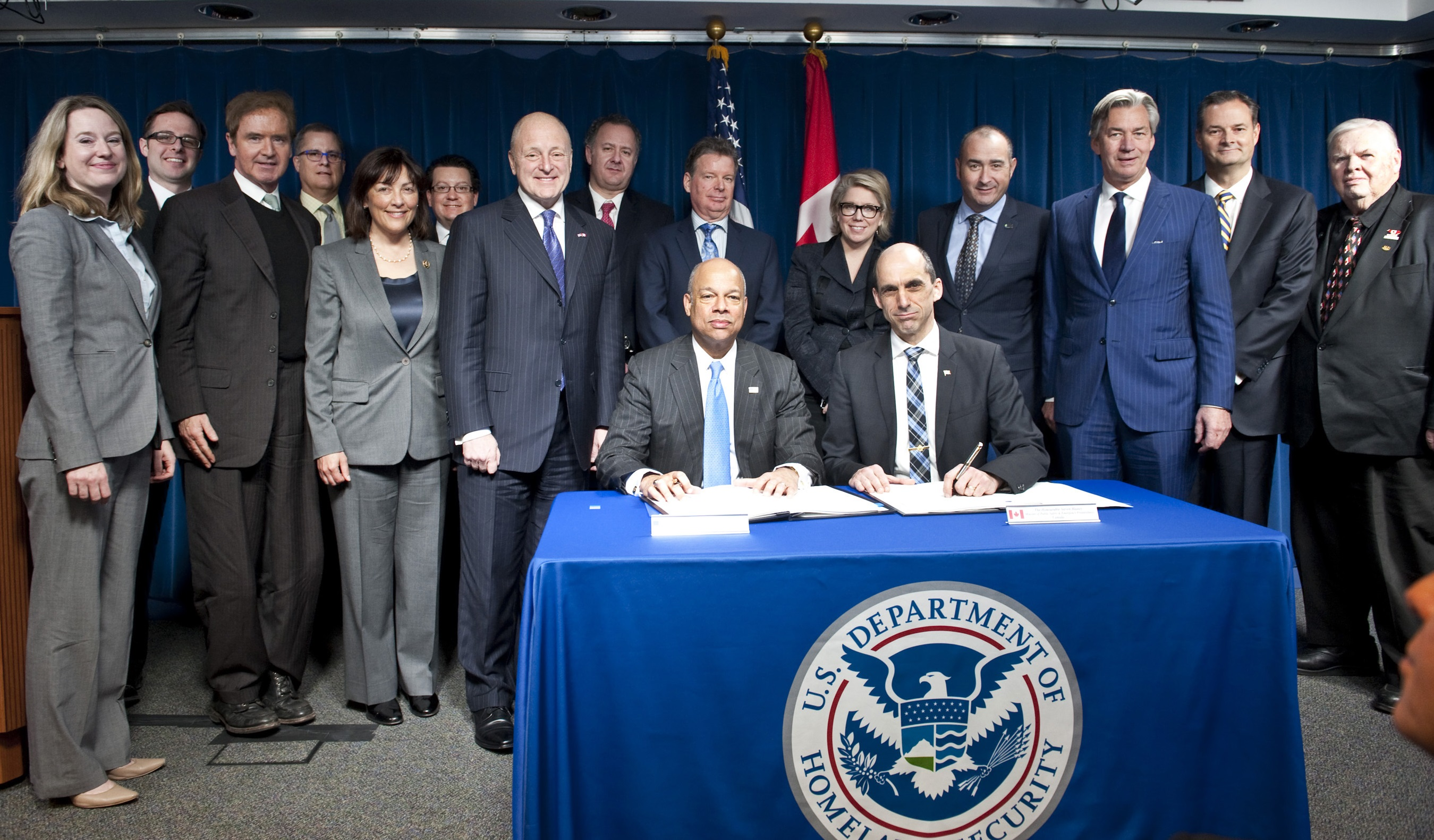 Today, Canada's Minister of Public Safety and Emergency Preparedness, the Honourable Steven Blaney; and U.S.  Secretary of Homeland Security, Jeh Johnson, signed the Agreement on Land, Rail, Marine and Air Transport Preclearance between the Government of Canada and the Government of the United States of America.
