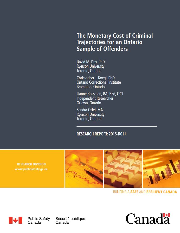 the monetary cost of criminal trajectories for an ontario sample of