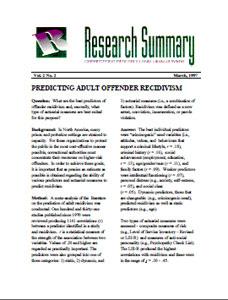 recidivism research questions