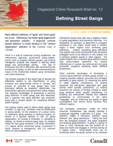 organized crime research brief no. 12 defining street gangs