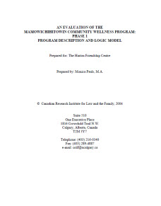 An Evaluation Of The Mamowichihitowin Community Wellness Program